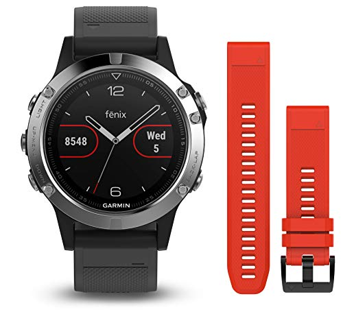 Garmin Fenix 5 - Multisport watch with HR and GPS, 47 mm, Silver pack 2 straps (Black...