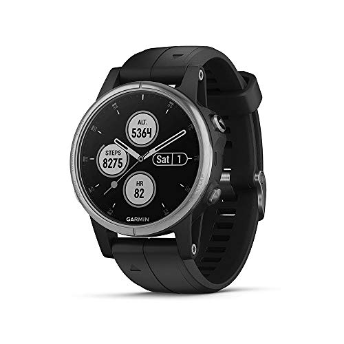 Garmin fenix 5S Plus Schwarz Multisport-Smartwatch – Europakarte, Musikplayer,...