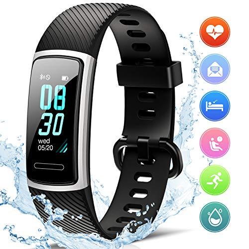 FITFORT Fitness Armband mit Pulsmesser- IP68 Wasserdicht Fitness Tracker Smartwatch,...